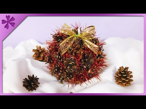 DIY How to make big Christmas ball out of pine cones (ENG Subtitles) - Speed up #551
