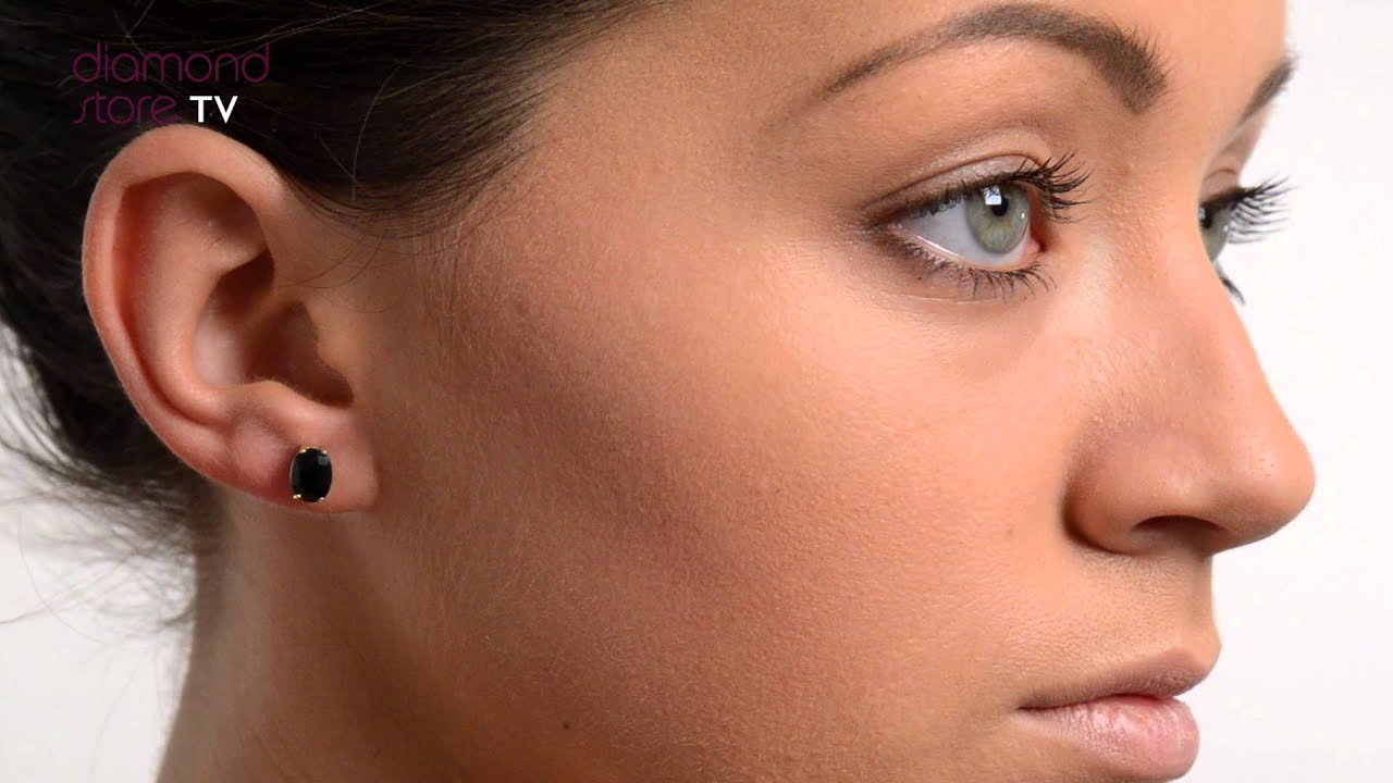 Sapphire 7mm x 5mm 9K Yellow Gold Earrings - B3223 - YouTube