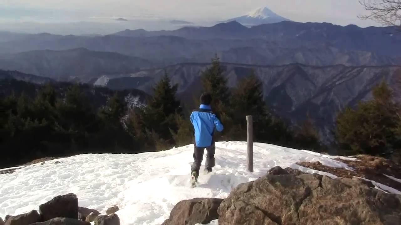 冬の雲取山 山頂付近 - YouTube