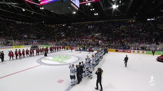 Finland sings the national anthem to celebrate a gold medal at #IIHFWorlds