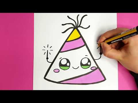 How to Draw a Party Hat Easy and Cute - Happy New Year