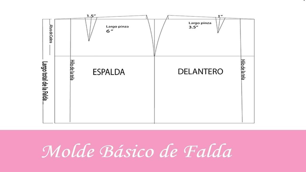 f60fc2ddf Molde Básico de Falda | Patronaje | Crear y Coser