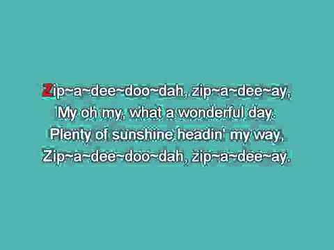 Zip A Dee Doo Dah [karaoke]