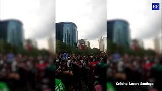 Festejos en El Ángel por el triunfo de México ante Alemania
