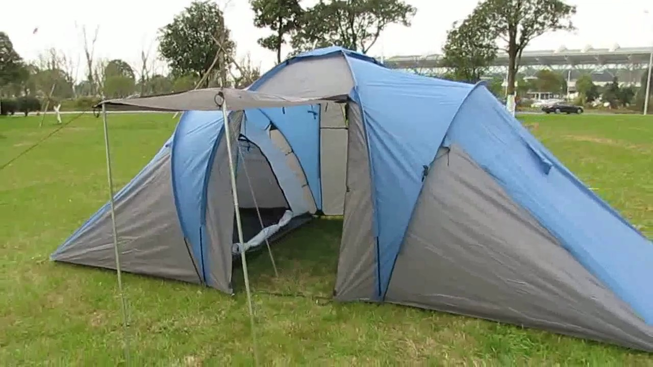 Double Layers 6 Person Family Camping Tent With 2 Sleeping