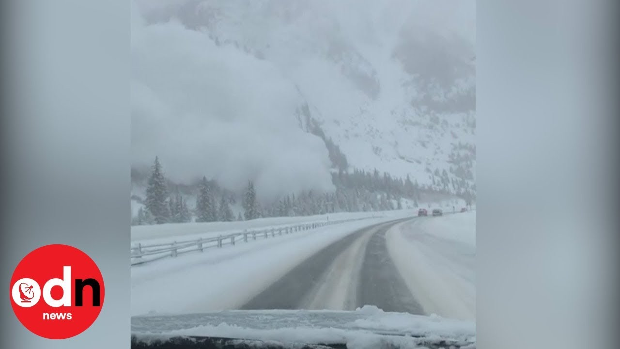 Video captures astonishing avalanche covering highway with snow in US