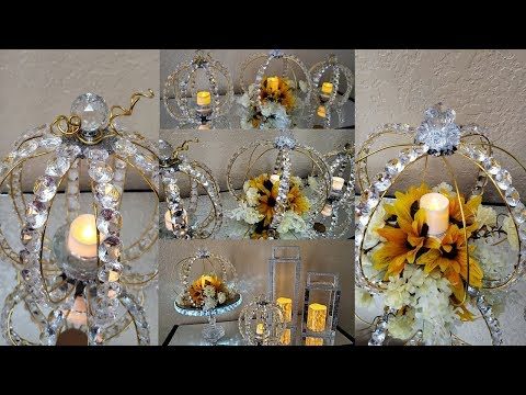 Dollar Tree DIY Fall Elegant Pumpkins Centerpiece| DIY Crystal Pumpkin Candle Holders Home Decor
