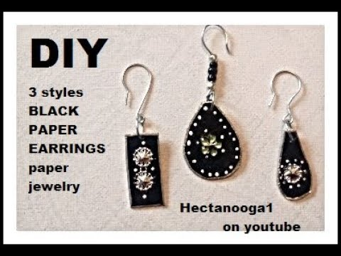 diy PAPER EARRINGS, JEWELRY MAKING, PAPER JEWELRY, 3 styles black earrings