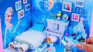 DIY Miniature Dollhouse Bedroom ~ Frozen Elsa Room Decor ~ 10 Minute DIY Doll Crafts #11
