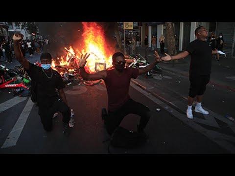 Свирепые протесты во Франции. Массовые погромы и столкновения с полицией. Перекинулось от США