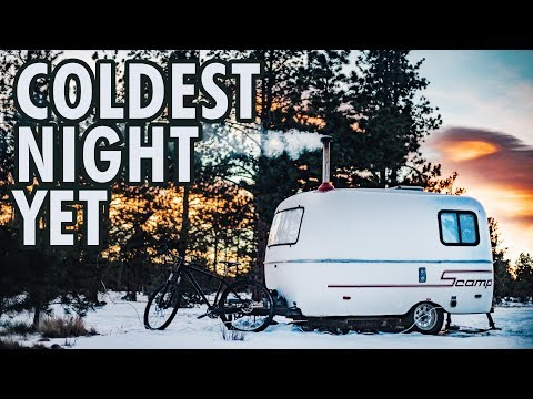 Winter Camping - Coldest Night YET // 13ft Scamp Trailer