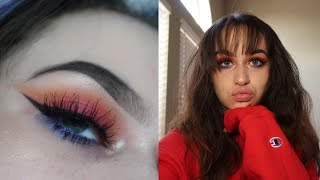 red sunset eyeshadow tutorial w/ a pop of color