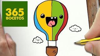 COMO DIBUJAR GLOBO KAWAII PASO A PASO - Dibujos kawaii faciles - How to draw a AIR BALLOON