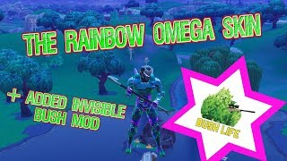Rainbow Omega Skin Plus Added Invisible Bush Mod (Fortnite Battle Royale) (Download Link Below)