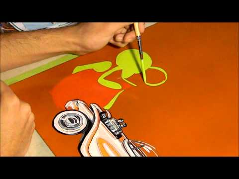 Ed Roth Panel Time Lapse Mercado's Pinstriping
