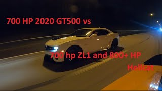 2020 GT500 racing 700 hp ZL1 and 800+ hp Hellcat on the street