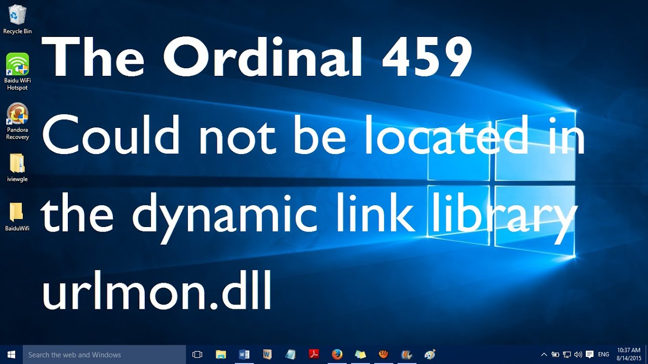 Fix: The ordinal 459 could not be located in the dynamic link library  urlmon dll