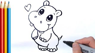 How to Draw Cute Hippo (Simple) - Step by Step Tutorial