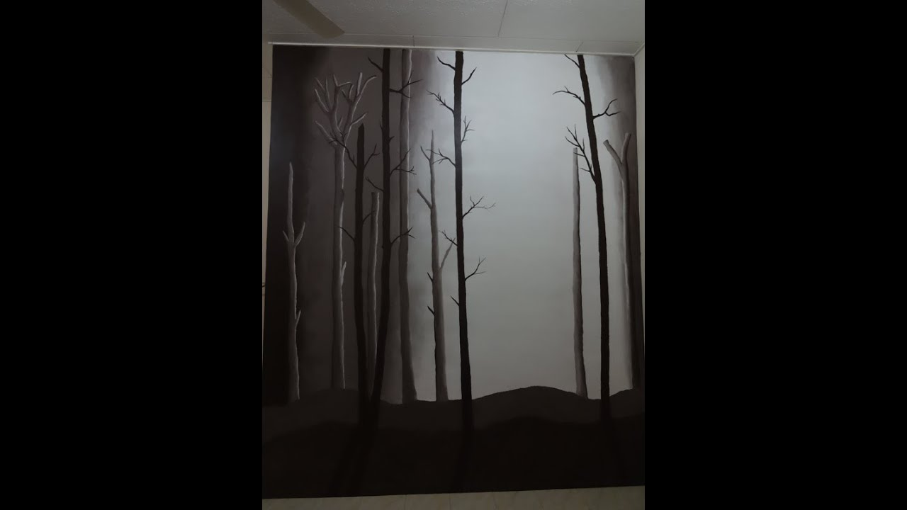 Forest mural painting youtube for Easy mural painting