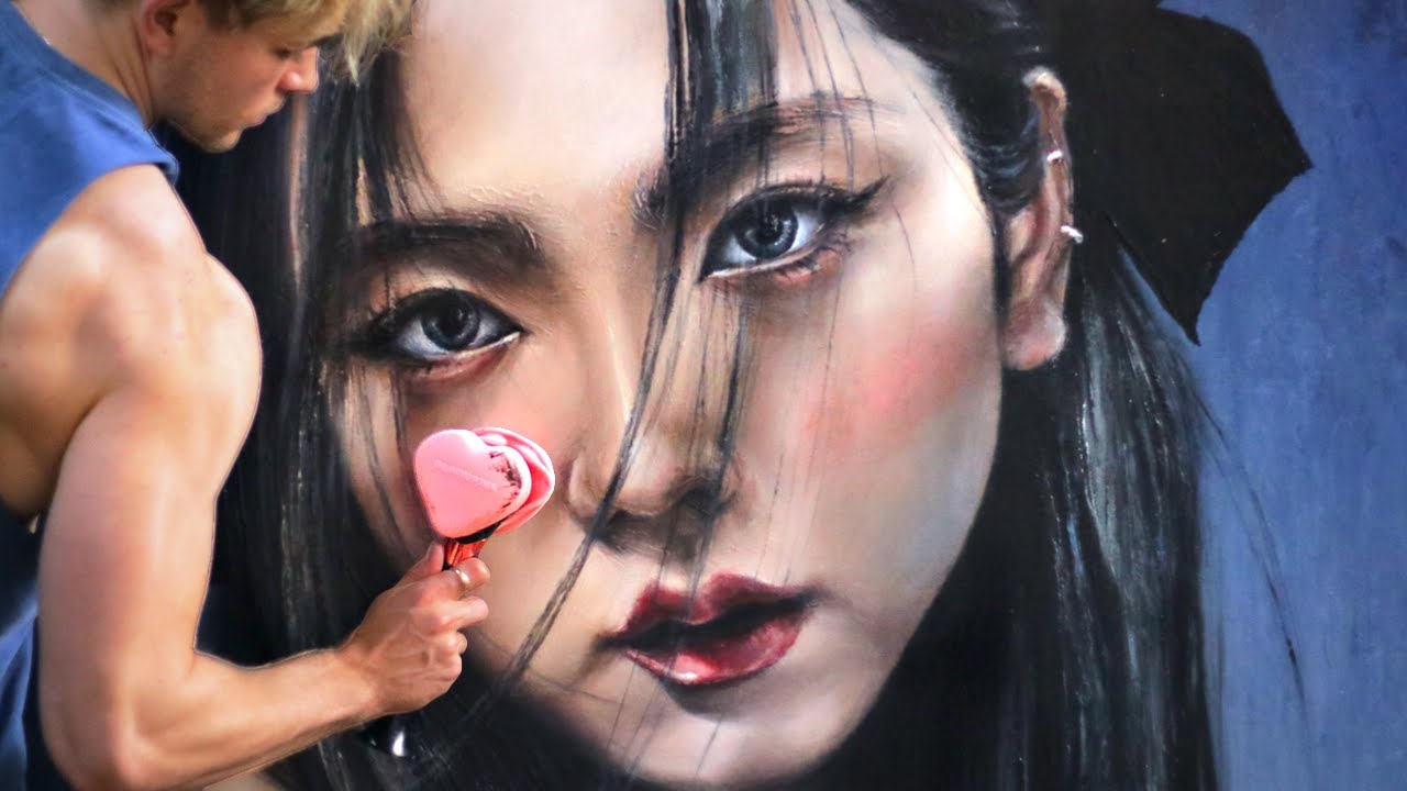 Can I PAINT with a BLACKPINK LIGHTSTICK?! (Making a Jisoo portrait with NO BRUSHES!!)