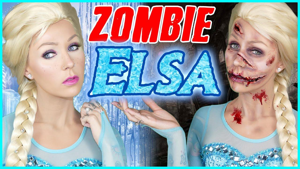Zombie Elsa Vs Queen Elsa Halloween Makeup Tutorial Youtube