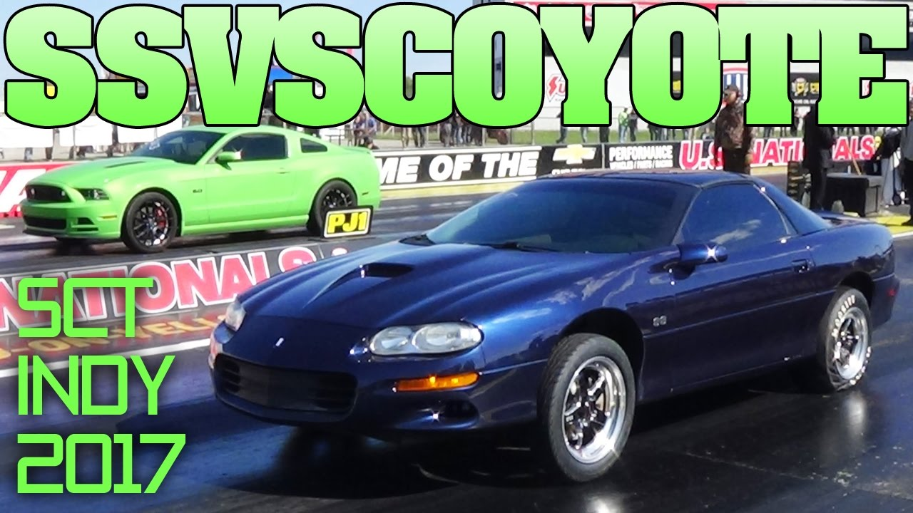 Camaro Vs Mustang >> 4th Gen Camaro SS vs Mustang Gt Coyote 5.0, drag racing Indy 2017 - YouTube