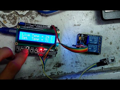 Temperature Monitoring By LM35 Using Arduino Uno+LCD Shield+ Relay