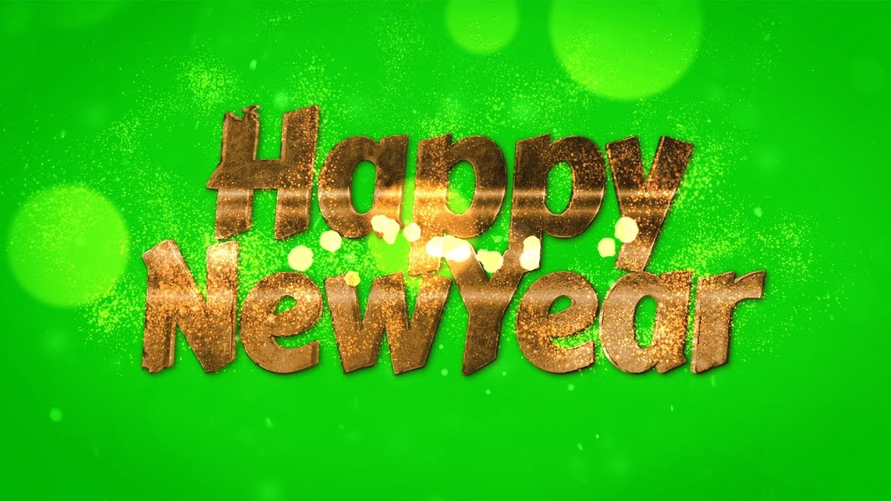 Happy New Year Light Particles Glowing Green Screen Background | VFX Footage