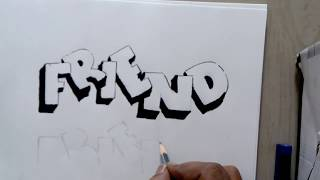 How to draw friend letter in 3d