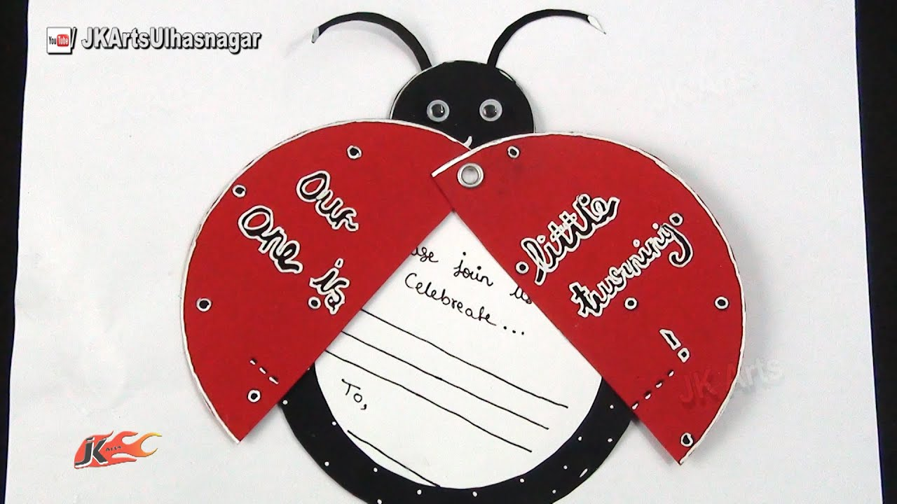 Diy ladybug inexpensive birthday invitations card idea how to make youtube premium stopboris Images