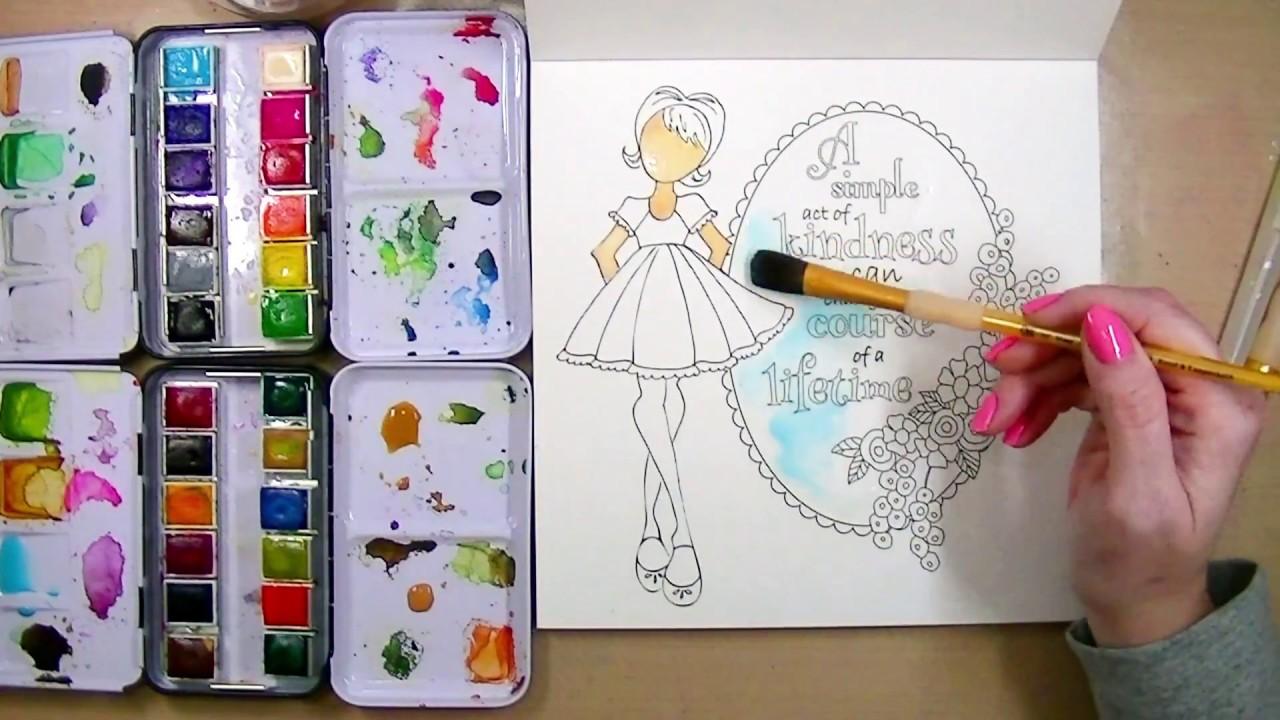 Watercolor Coloring Book! Prima Watercolor Confections - YouTube