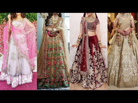 Modern Indian Bridal Lehenga Choli dupatta/ Gowns for Women with heavy Hand Embroidery 2018