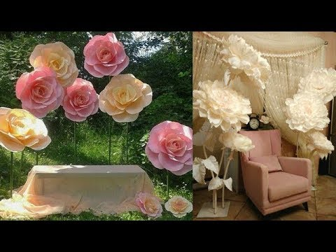 Tutorial of DIY Paper Flower Stem and stand / Backdrop / Centerpiece /wedding decoration