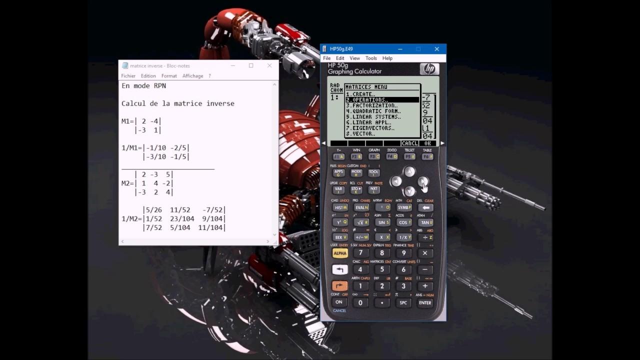 hp 50g - La matrice inverse