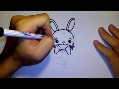 วาดการ์ตูนกันเถอะ สอนวาดรูป การ์ตูน กระต่าย กินแครอท