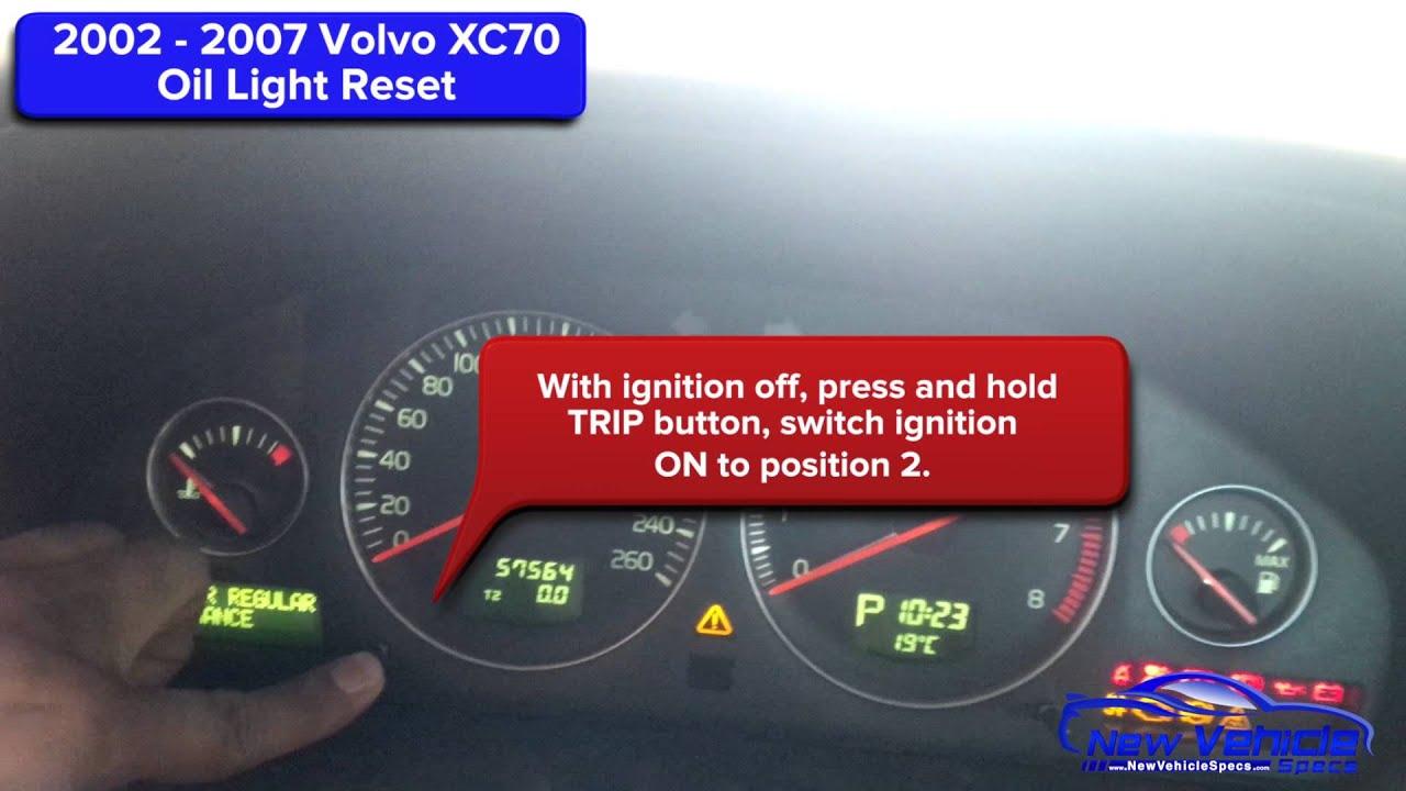 2002 - 2007 Volvo XC70 Oil Light Reset / Service Light ...