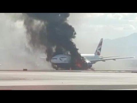Plane catches fire on Las Vegas runway