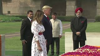 US President Donald Trump Paying Tribute to Mahatma Gandhi at Rajghat