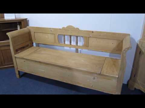 19th Century Large Antique Farmhouse Box Bench  - Pinefinders Old Pine Furniture Warehouse