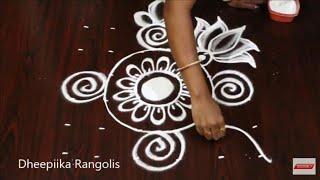 latest small kolam design for beginners with 6x6 dots * easy & simple rangoli design * lotus muggulu