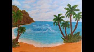 Oil Painting - Island Beach - Time Lapse - Yakshani Priya Fine Art