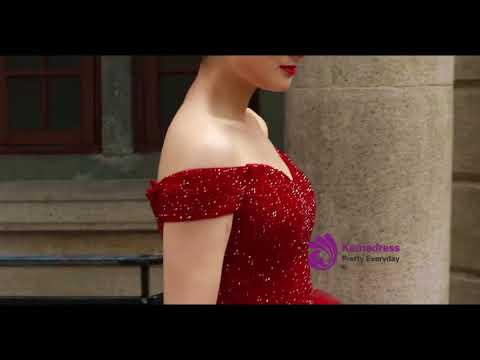 kemedress-burgundy-ball-gown-off-the-shoulder-with-beading-wedding-dress