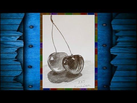 Ekt Karakalem Kiraz Meyve Natürmort çizimi Meyve çizimi Youtube