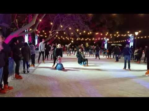 Ice Skating at Federation Square.  Melbourne Australia