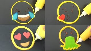 Emoji Faces Pancake Art - Smiling Tears, Blowing Kisses, Heart Eyes, Vomit