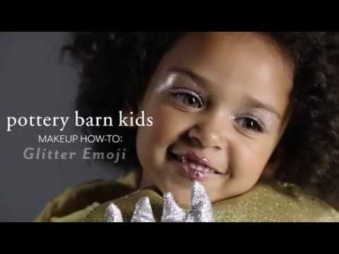 Easy Halloween Makeup Tutorial - Glitter Emoji Costume for Pottery Barn Kids