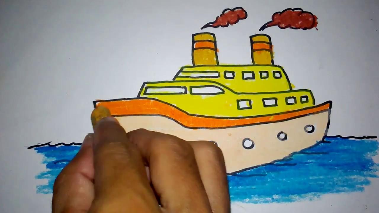 Cara Menggambar Kapal Pesiar Untuk Anak Youtube