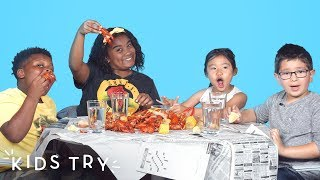 Kids Try Crawfish Boil | Kids Try | HiHo Kids