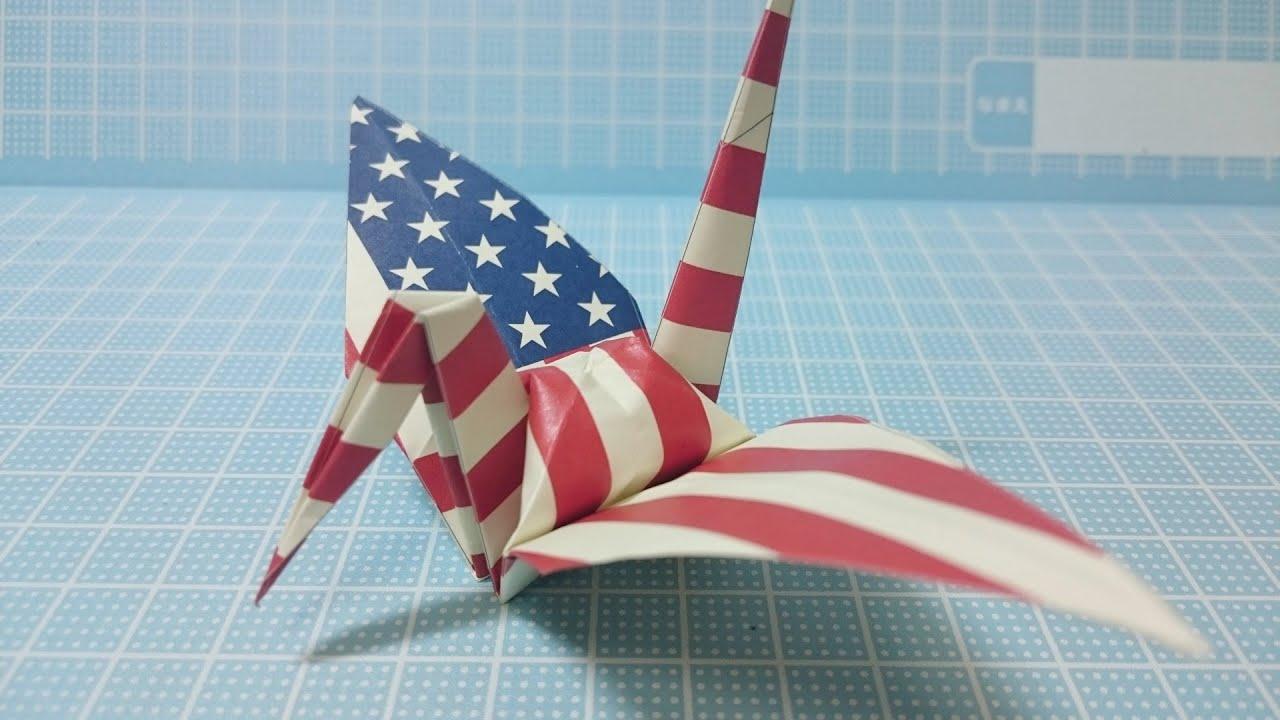crane origami usaamerica flag youtube
