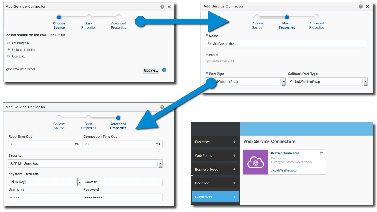 Creating a Web Service Connection in Oracle Process Cloud Service